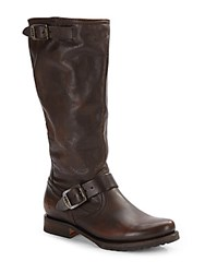 Frye Veronica Leather Tall Boots Dark Brown