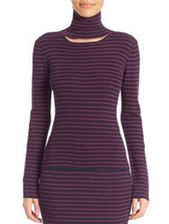 Tanya Taylor Cutout Striped Turtleneck Sweater Midnight Fuchsia