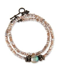 Armenta Old World Mystic Moonstone And Pearl Bracelet With Champagne Diamonds
