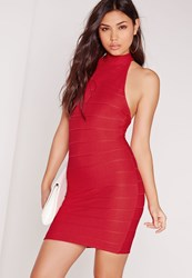 Missguided High Neck Bandage Bodycon Dress Red Red