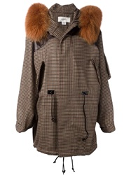 Rodarte Fox Fur Collar Check Print Parka Brown