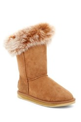 Australia Luxe Collective Foxy Short Hidden Wedge Genuine Fox Fur And Shearling Boot Gray