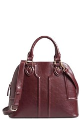 Sole Society 'Marlow' Structured Faux Leather Dome Satchel Burgundy Oxblood