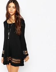 Lira Long Bell Sleeve Dress With Crochet Seeve And Hem Detail Black
