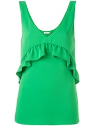 P.A.R.O.S.H. Ruffled Detail Tank Green