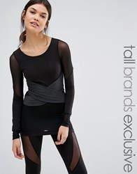 Quontum Tall Long Sleeve Wrap Front Mesh Insert Top Black Grey