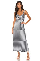 Mds Stripes Knit Tie Front Dress Navy