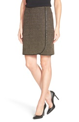 Adrianna Papell Tweed Faux Wrap Pencil Skirt Camel Black