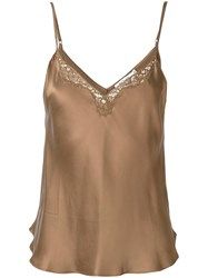 Mes Demoiselles Lace Trim Cami Top Brown