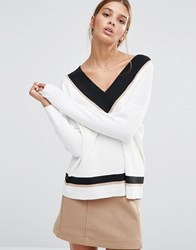 New Look Contrast V Neck Jumper Cream Pattern