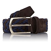 Simonnot Godard Men's Reversible Suede And Knit Belt Brown