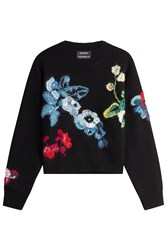 Anthony Vaccarello Wool Cashmere Embroidered Pullover Black