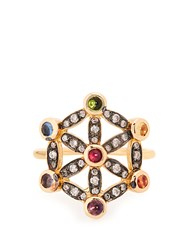 Noor Fares Diamond Multi Stone And Yellow Gold Pinky Ring