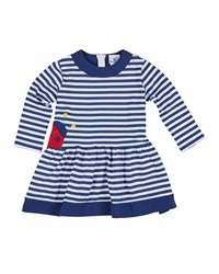 Florence Eiseman Striped Long Sleeve Dress W Ladybug Applique Multi