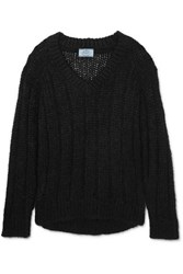 Prada Open Knit Mohair Blend Sweater Black