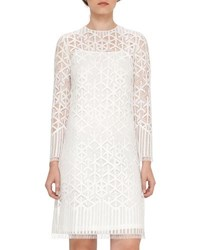 Akris Geometric Lace Shift Dress Black