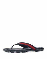 Gucci Web And Leather Thong Sandal Green Red