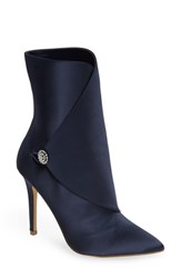 Charles By Charles David Pistol Crystal Embellished Pointy Toe Bootie Navy Satin
