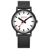 Mondaine Unisex Essence Rubber Strap Watch Black White