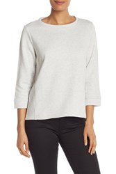 Eileen Fisher 3 4 Length Sleeve Solid Sweater Pearl