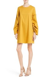 Tibi Women's Satin Poplin Trapeze Dress Sinapis Yellow