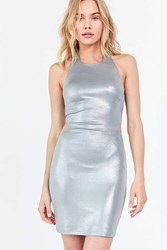Silence And Noise Lame Side Cutout Bodycon Dress Silver