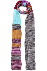 Missoni Metallic Crochet Knit Scarf Blue