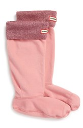 Hunter Women's Original Tall Glitter Cuff Welly Boot Socks Pink Sand
