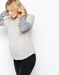 Asos Maternity Stripe Top With Curved Hem And Long Sleeves Navycream