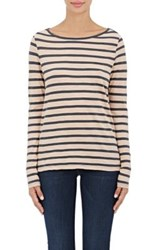 Skin Women's Striped Lightweight Jersey Long Sleeve T Shirt Navy