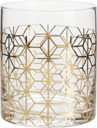 Cb2 Nouveau Gold Double Old Fashioned Glass