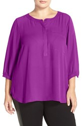 Nydj Plus Size Women's Henley Top Purple Haze