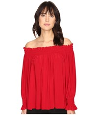 Norma Kamali Peasant Top Red Women's Clothing