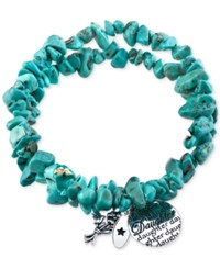 Unwritten Manufactured Turquoise Stone Chip Daughter And Flowers Charm Bracelet Silver
