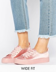 Asos Darling Wide Fit Satin Trainers Nude Satin Beige