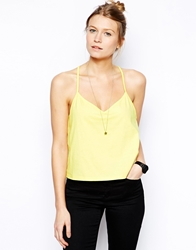 Asos Cropped Cami Top With V Neck Yellow