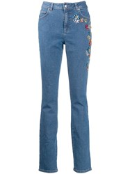 Escada Embroidered Skinny Jeans Blue