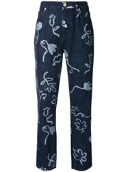 Paul Smith Ps By Artistic Printed Cropped Jeans Blue