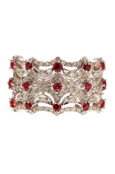 Savvy Cie White Diamond And Orange Sapphire Band Red
