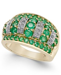 Macy's Emerald 1 3 4 Ct. T.W. And Diamond 1 5 Ct. T.W. Dome Ring In 14K Gold Green