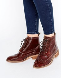 Asos Artistry Leather Lace Up Brogue Boots Conquer Brown