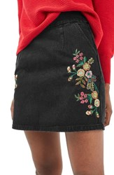 Topshop Women's Embroidered Denim A Line Skirt