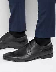 Frank Wright Brogue Wing Tip Shoes In Black Black