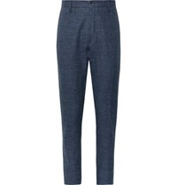 Zanella Navy Noah Slim Fit Prince Of Wales Checked Linen Blend Trousers Navy