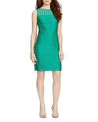 Lauren Ralph Lauren Mod Geometric Lace Dress Palm Green Suntan