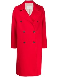 Tela Double Breasted Coat Red