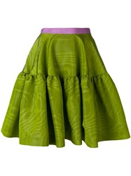 Talbot Runhof Tiered A Line Skirt Green