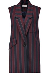 Carven Striped Wool Blend Vest Burgundy