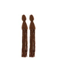 Long Beaded Tassel Clip Earrings Oscar De La Renta
