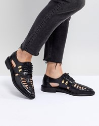 Selected Femme Leather Caged Lace Up Flat Shoe Black
